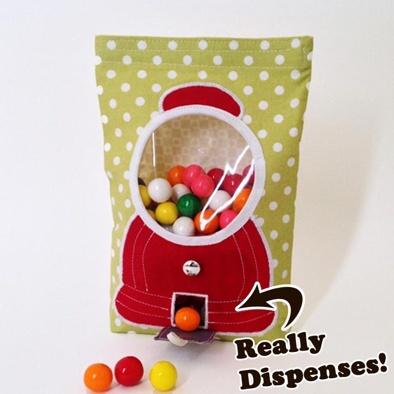 This gumball machine bag is genius! Actually works to dispense treats. Can be changed up to suit different occasions by using different fabrics. I'd love to make some for tables for my wedding. Sewing pattern from Craftsy.