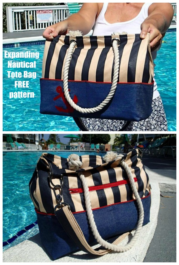 Expanding Nautical Tote Bag FREE pattern