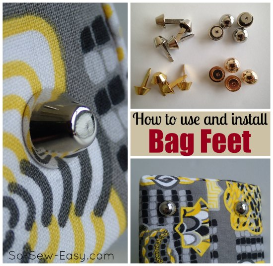 How to add a firm stable base and bag feet.  Keeps your bag in a nicer shape for longer, and also helps to keep it clean by using the feet.  Two different sorts are used here - with prongs and also screw in feet.