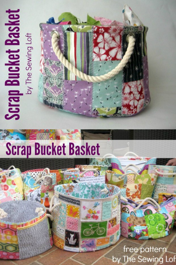 I use these Scrap Buckets all around the house. Perfect for using up my scraps and for storage in the sewing room. The kids usse them for their toys, I have more in the laundry room and always keep one at the bottom of the stairs ready to take up. Free sewing pattern.