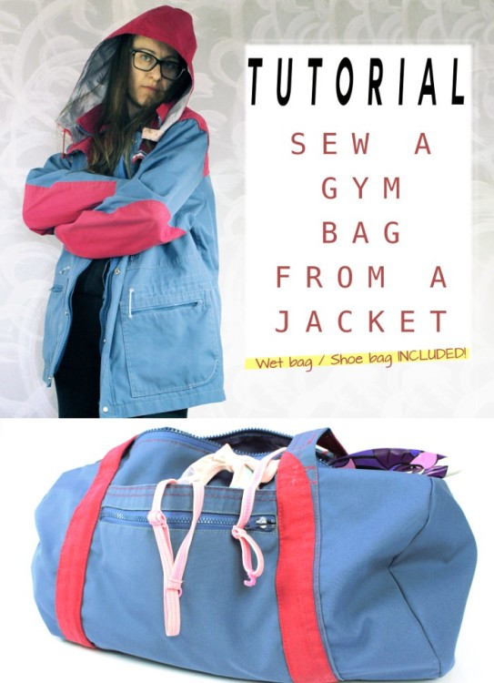 Awesome upcycling! Take one old jacket and turn it into this gym bag. Uses zippers, pockets, fabric etc. Perfect for a thrift store find, jacket that's too small or just too old now. Great bag sewing idea.