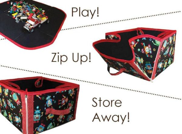 2-in-1 playmat and toy storage tote - sewing pattern. My kids love these. We have a roads one for their cars and a farmyard one too. Now my niece wants me to make her one for playing with her Barbies. Play, zip, move and store!