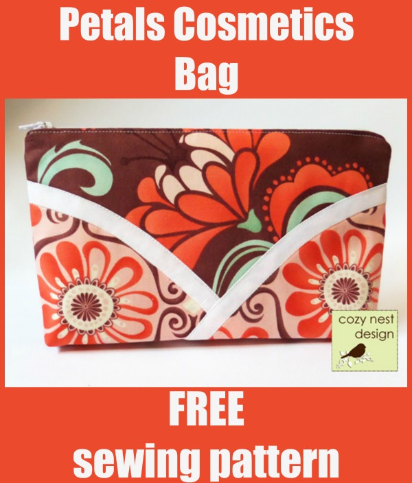 Petals Cosmetics Bag FREE sewing pattern