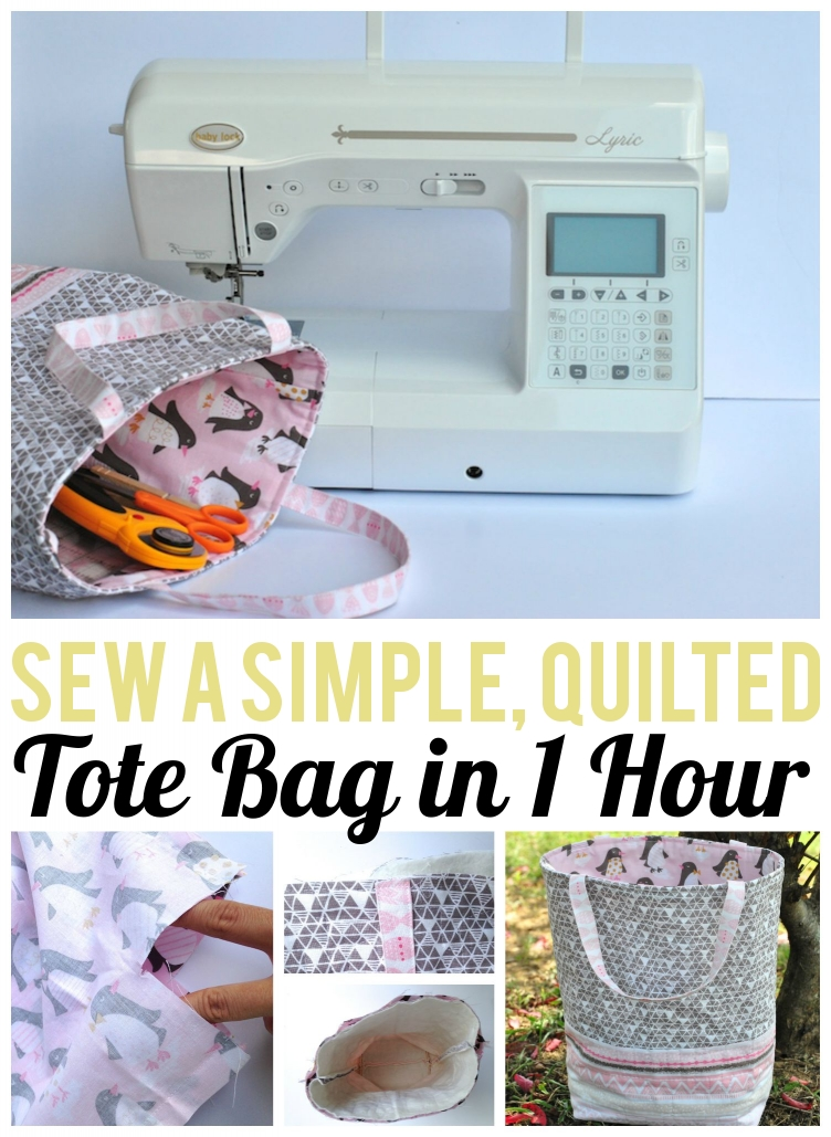 """1 Hour Quilted Tote Bag"" Free Quilted Tote Bag Pattern Susan and Laura from Sew Modern Bags"