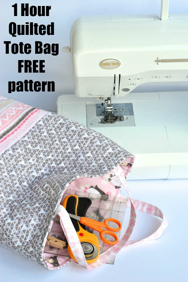 1 Hour Quilted Tote Bag FREE pattern