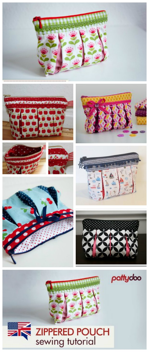 Cosmetics Bag with box pleats FREE sewing video