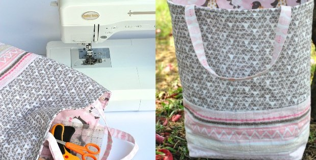 Free pattern and tutorial for a quilted tote bag that you can sew in about an hour.