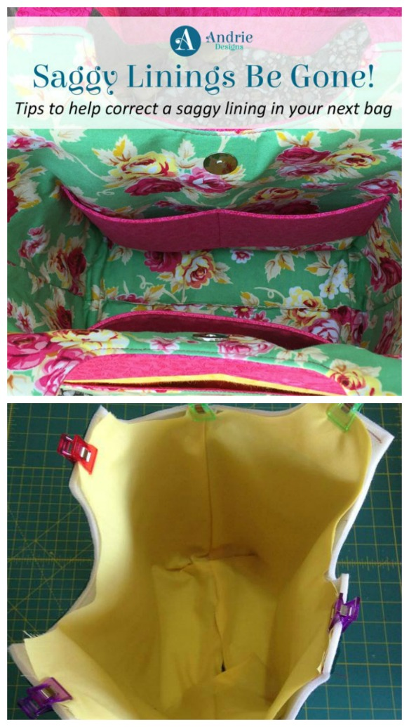 How to fix or avoid saggy bag linings - a FREE tutorial.