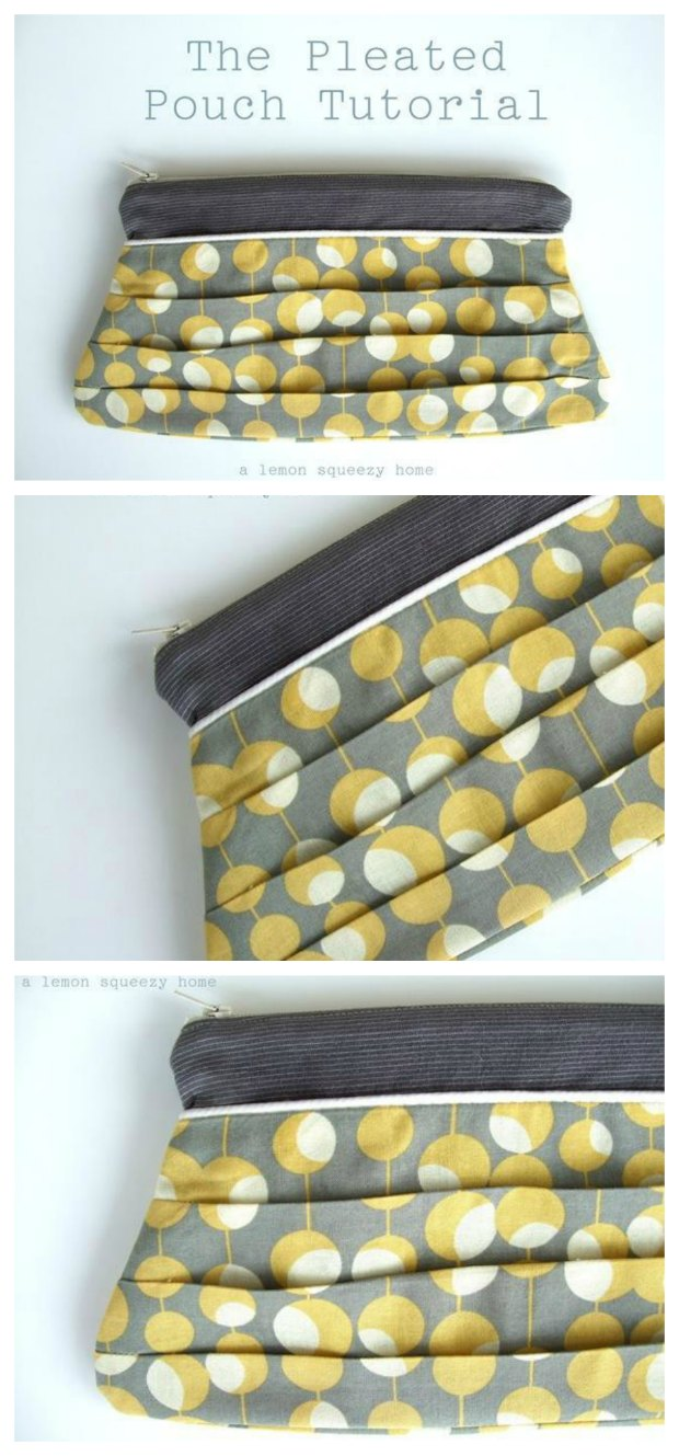 Free zipper bag sewing pattern. Looks pretty in cottons but I'm making mine in a smart silk brocade for a special evening clutch bag.