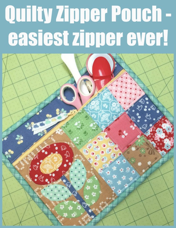 An innovative and very pretty way to sew a simple zipper pouch.  This method makes sewing the zipper super-easy and the binding is so cute too!