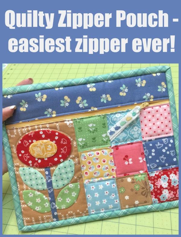 Quilty Zipper Pouch - easiest zipper ever?