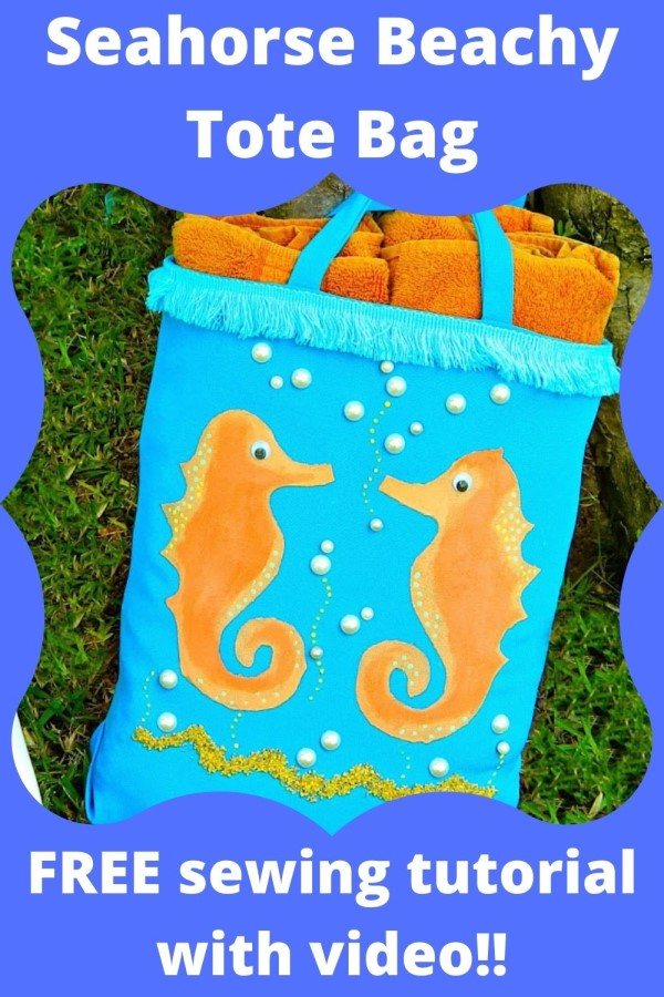 Seahorse Beachy Tote Bag FREE sewing tutorial (with video). A fantastic and FREE tutorial on how to make this awesome beach Tote Bag.