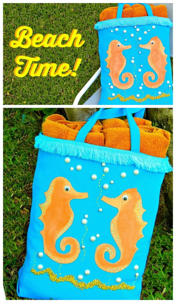 The kids and I had so much fun making and then decorating this beachy tote bags this year.  Encourage the kids to haul their own gear with this fun bag tutorial - video too.