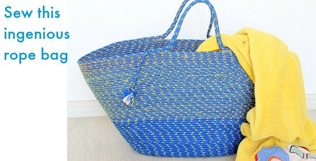 I couldn't believe it when I saw how this bag was made - just from a piece of rope! It's ingenious. Great links to rope you can buy cheaply online too - great beach and grocery bags. I'm making one for my mom too.