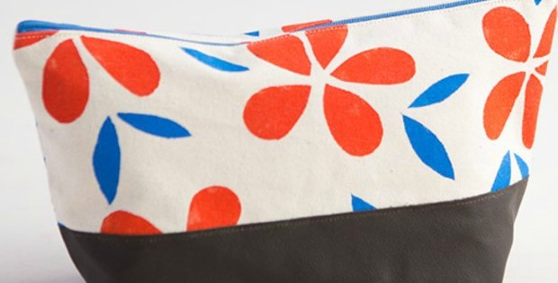 Bag of the Month Sewing Classes - this month is the stencil and sew cosmetics bag. Learn how to make your own custom fabric as well as sew with leather/faux leather to make this cosmetics bag
