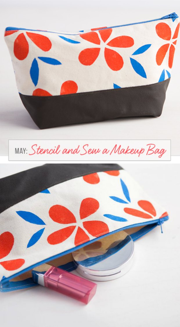 Bag of the Month Sewing Classes - this month is the stencil and sew cosmetics bag. Learn how to make your own custom fabric as well as sew with leather/faux leather to make this cosmetics bag.