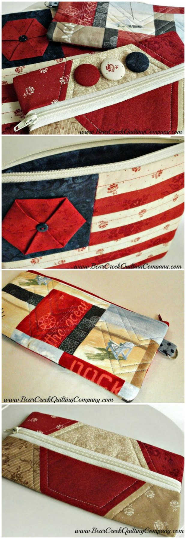 Free tutorial for 3 different zipper bags to sew.  I really like the one that looks like a flag, but each of them is interesting.  I know someone who would love that hexies one too.
