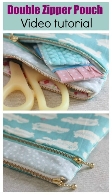 Double Zipper Pouch - free video & tutorial.