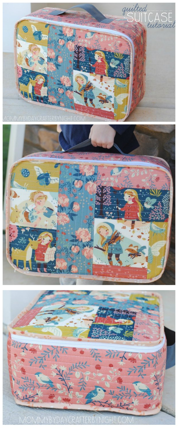 Quilted mini suitcase FREE sewing pattern