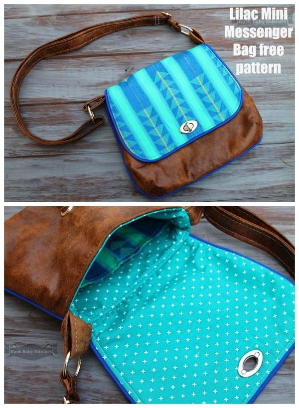 Mini Messenger Bag free sewing pattern.