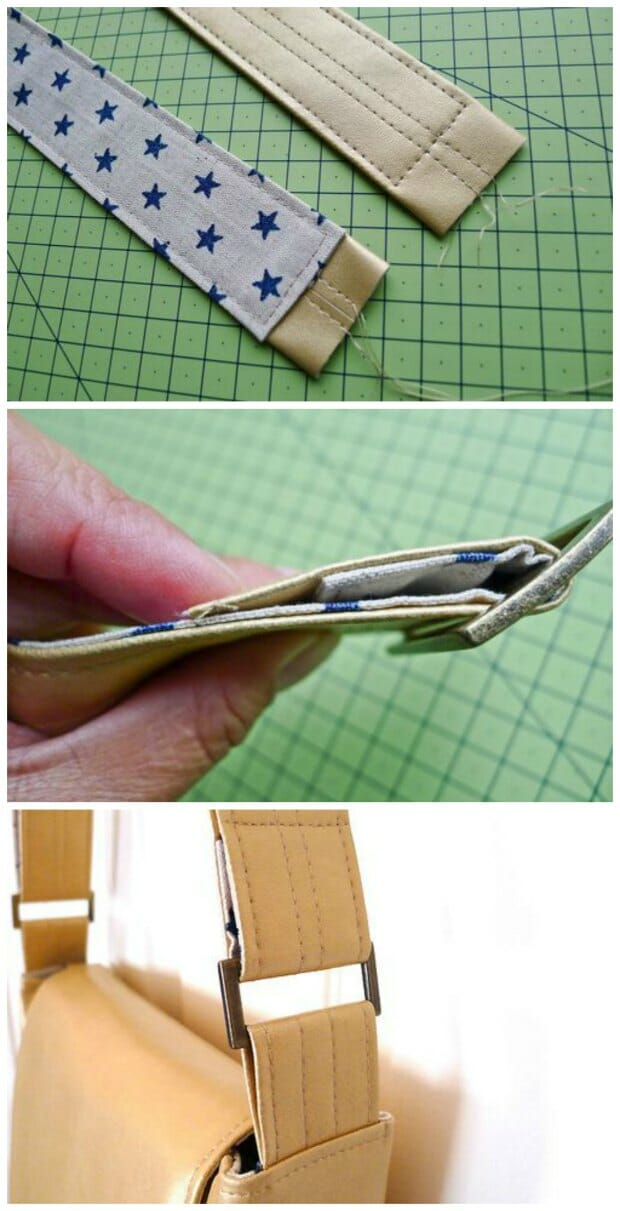 How to make less bulky leather bag straps by backing them with fabric and only using two layers of vinyl/pleather.  Looks SO pretty using a fabric to match the bag/lining and makes sewing much easier too.