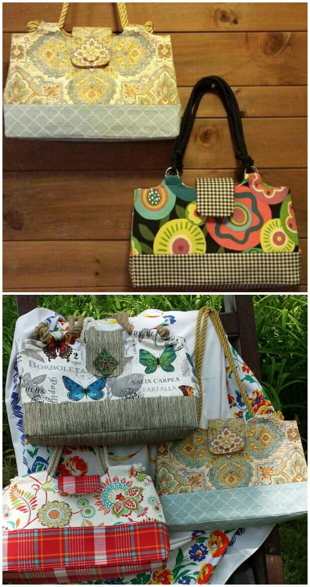 Handbag sewing pattern. Creates a lightweight yet well constructed and well structured purse. You can get this pattern on Craftsy.
