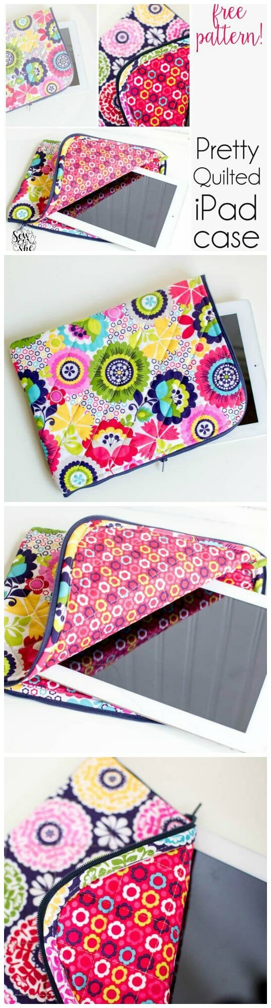 size 40 5c4df 4db00 Pretty quilted IPad case - free pattern - Sew Modern Bags