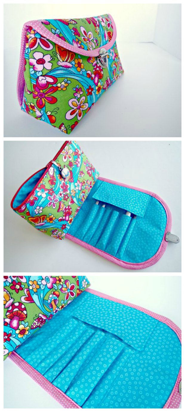 Genius bag that combines the cosmetics bag and the brush roll all in one. Has a FREE pattern and tutorial you can download AND a step by step video as well.