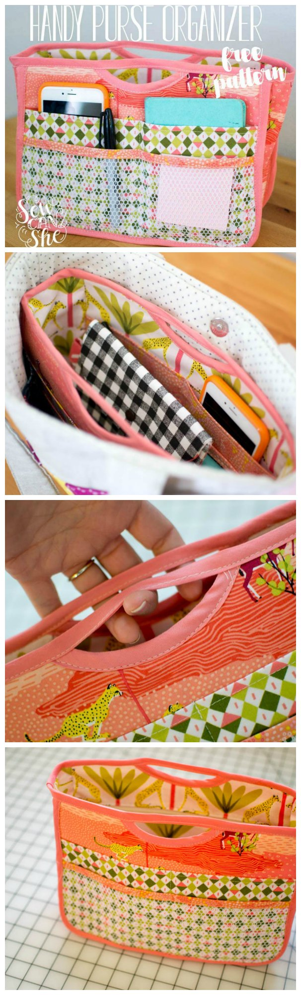 Free sewing pattern for this smart purse organizer.