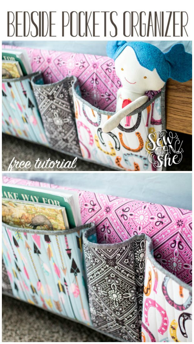 Bedside Pocket Organizer FREE sewing tutorial