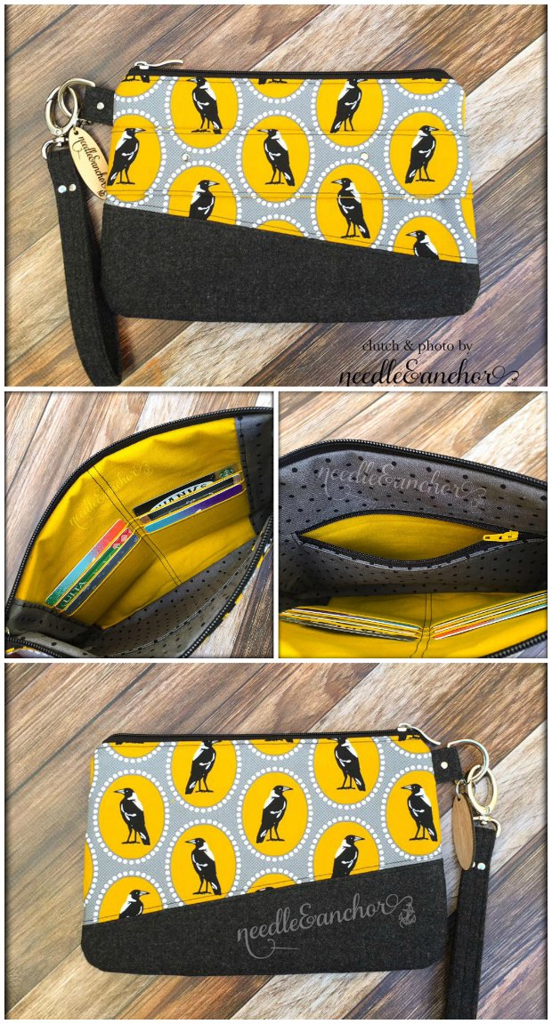 Free clutch bag sewing pattern.