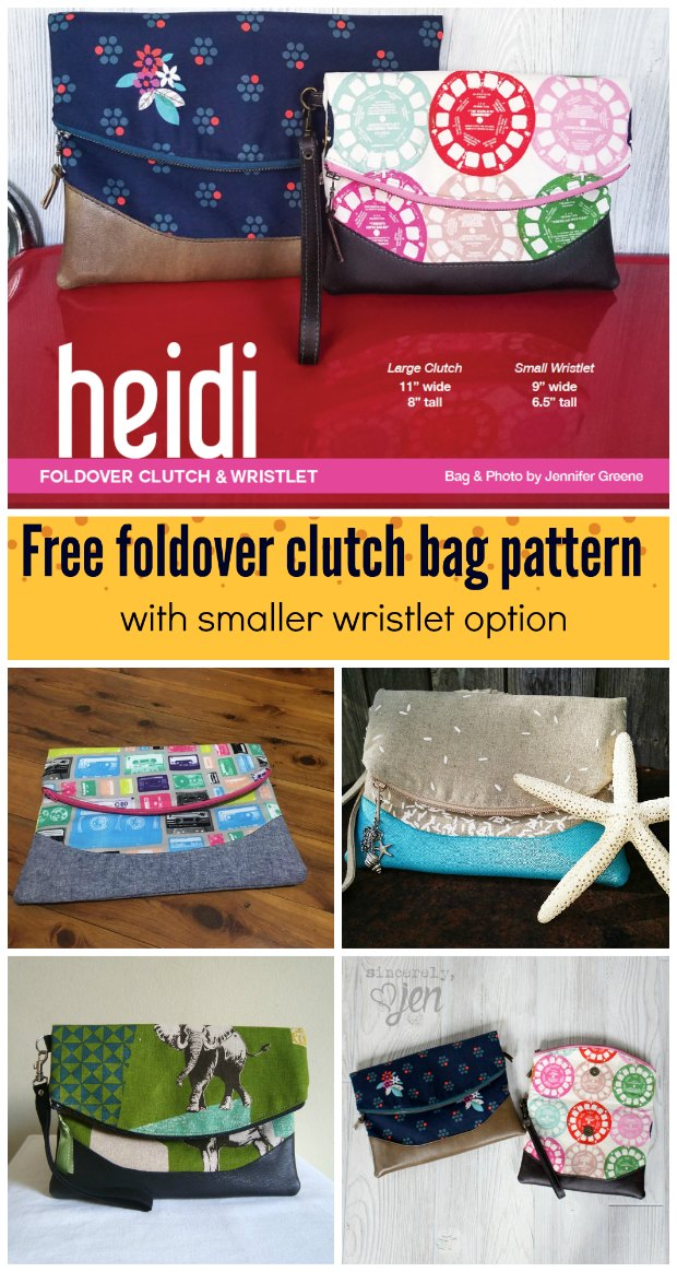 Heidi Fold Over Clutch Bag FREE sewing pattern & video.