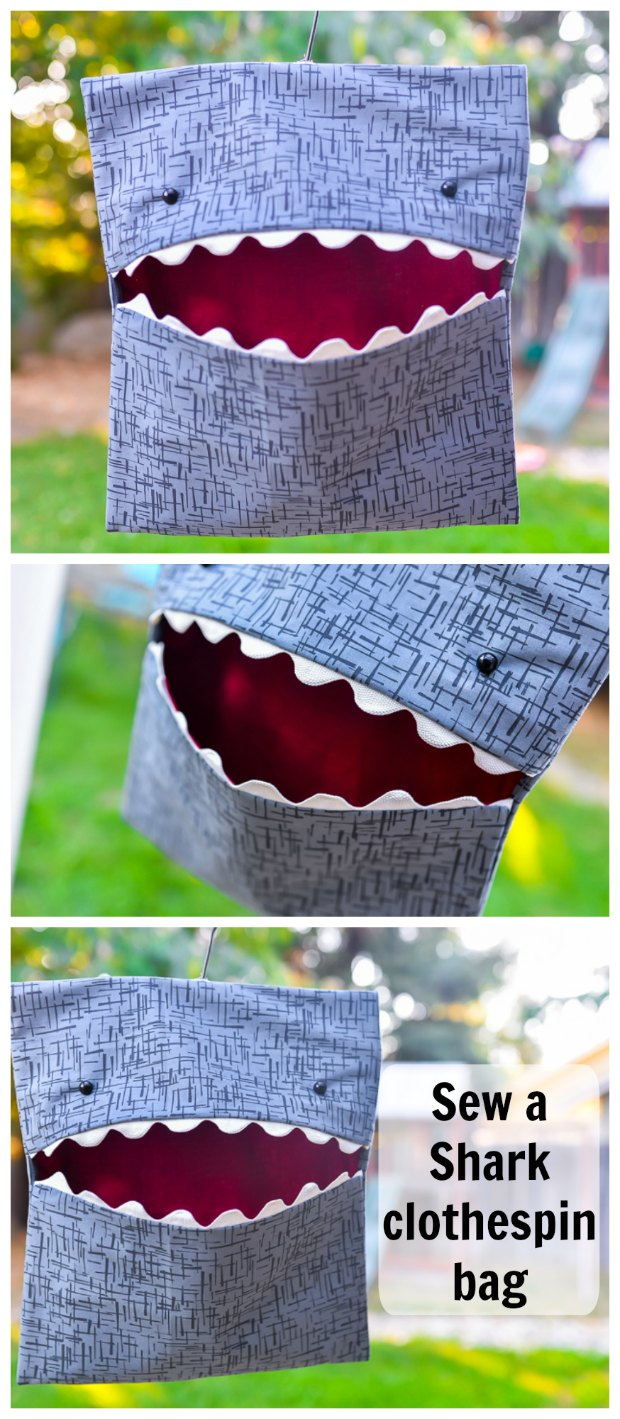 Shark Clothespin Bag FREE sewing tutorial.