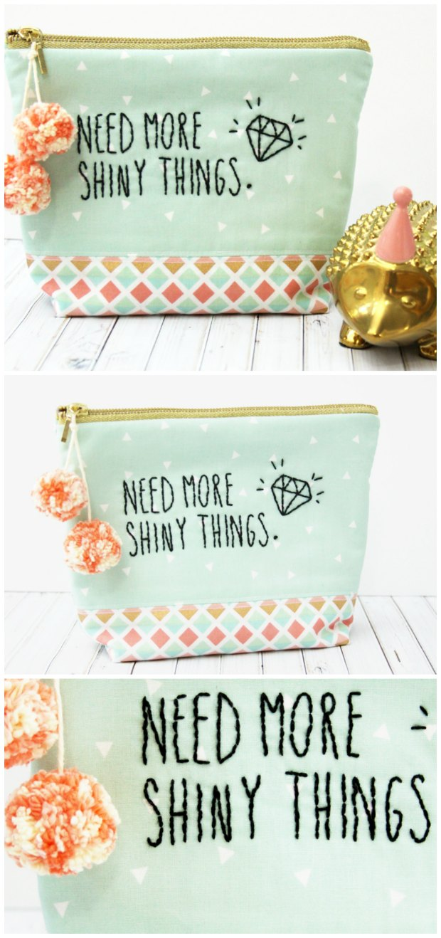 Free sewing and embroidery pattern for this cute zipper pouch