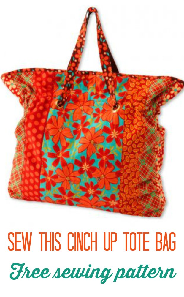 Free sewing pattern for this cinch top tote bag. Easy to piece and adapt to any size you like.