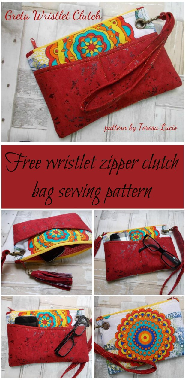 Free sewing pattern for this wristlet clutch bag. Lots of great little features on this bag make a great end result and very usable bag.