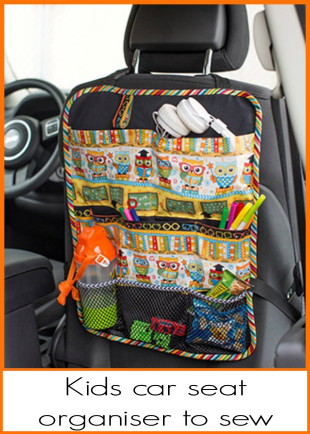Free sewing pattern for a kids car seat organiser. Stop the mess, hide the stuff!