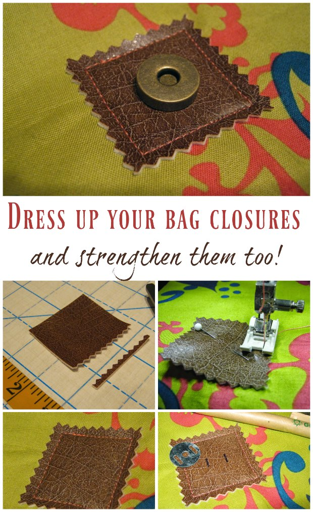Adds style and strength to any bag closures. I'll be adding these to all the magnetic snaps on bags I sew in future.