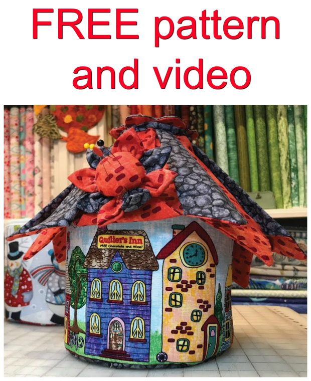Cute Fabric Fairy House storage basket FREE sewing pattern + video