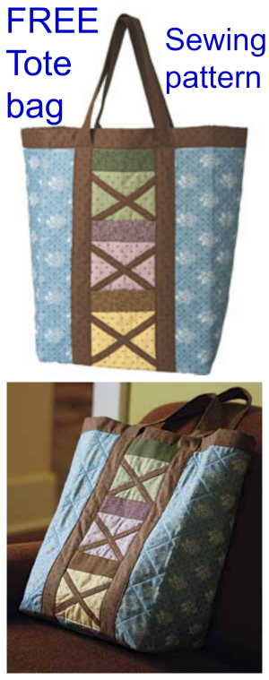 Here's an awesome Country Tote Bag Pattern for FREE! Make this roomy bag which has 6 outer pockets to store your smaller items.