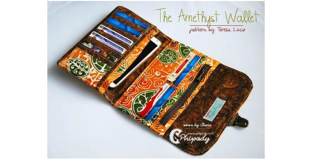 Amethyst Wallet sewing pattern - Sew Modern Bags