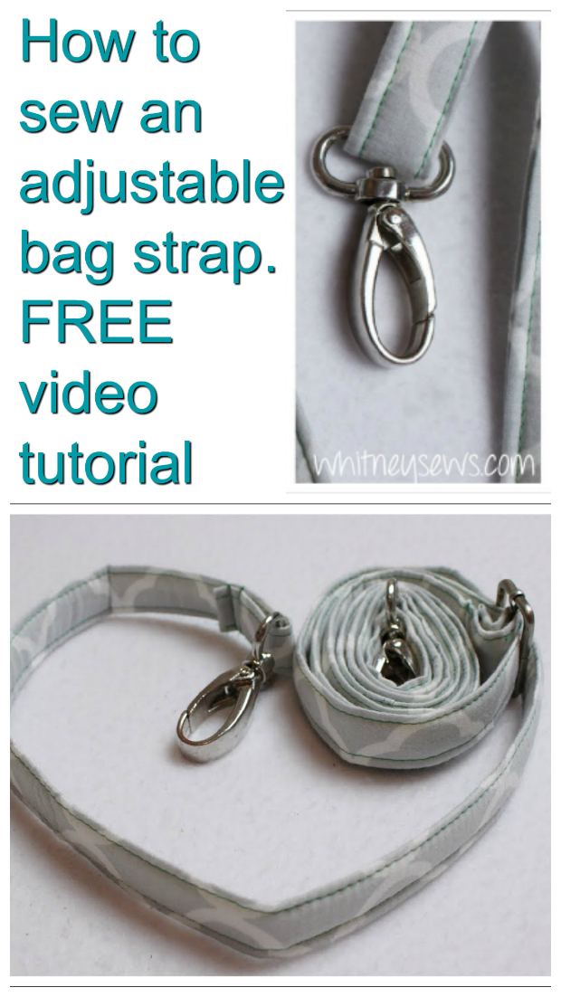 How to sew an adjustable bag strap - FREE sewing video tutorial