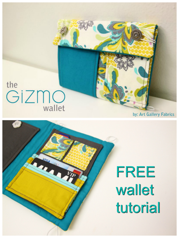 Here's an excellent FREE tutorial on how to make this cute Gizmo Wallet. There are so many pockets on this wallet, it is incredible. It has big pockets, a phone pocket, credit card pockets, mini pockets, larger credit card pockets and bill pockets. This Gizmo wallet is great for just about anyone.