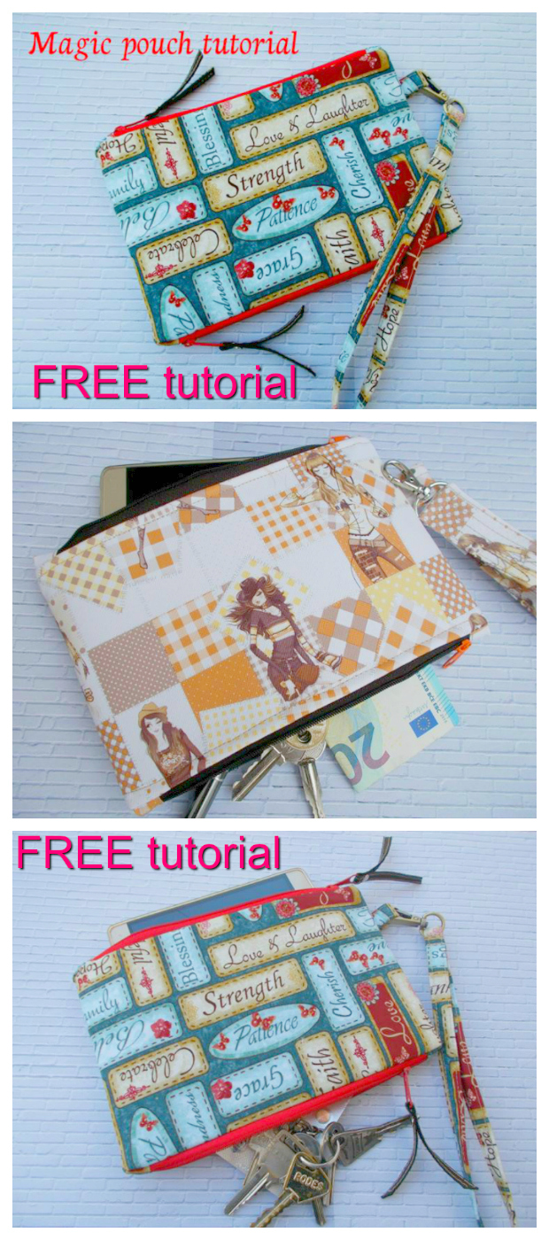 "FREE tutorial to make the Magic Pouch. This is a lovely little pouch with two separated zipper compartments for your phone, money and keys etc. With a strap to hook onto the pouch, you will always have your essentials at hand. The finished pouch is 8"" wide by 5 ½"" high."