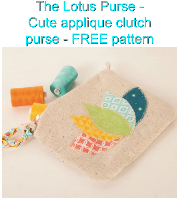 Cute Applique Clutch Purse - The Lotus Purse - FREE sewing pattern