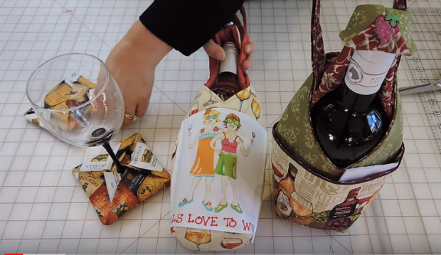 Wine Bottle Bag Video FREE sewing tutorial