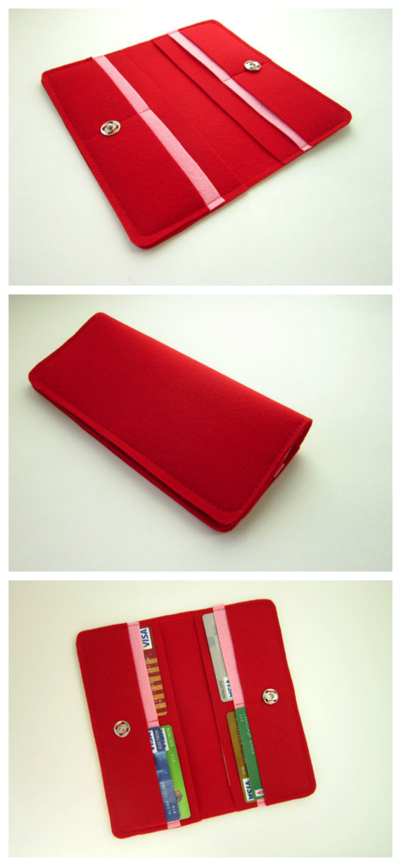 """If you want to make a nice simple and easy felt wallet then this is the project for you. The PDF downloadable pattern and instructions with pictures at each step show you how to make this beginner wallet. If you choose you can make the wallet from fabric or leather. The finished size of the wallet is 8"""" wide by 4"""" high."""