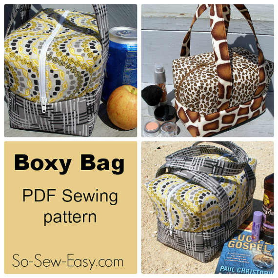 "If you want to make a Boxy Bag that has dozens of uses then here is a PDF downloadable bag pattern and instructions. The bag which measures 7.5"" long by 4.5"" wide by 5.0"" (plus straps) high, is perfect to use as a bag to carry your lunch, cosmetics, toiletries, camera or to travel with or take to the beach."