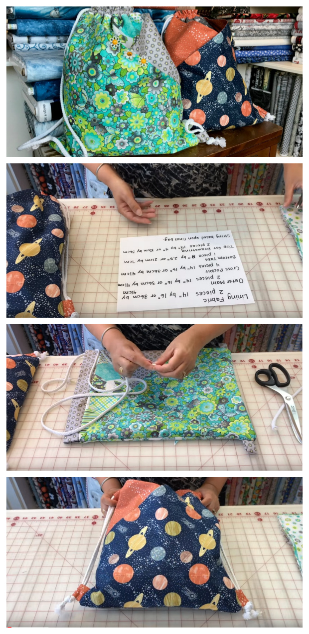 Drawstring Bag with diagonal pockets - FREE sewing video