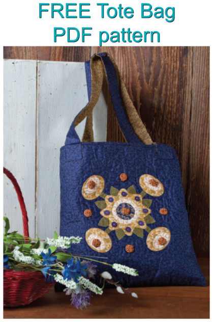 "Here is a great FREE pattern on how to make this useful and stylish Tote Bag.And the applique design really makes this bag stand out amongst the rest. This Tote Bag measures 14"" by 15"" and is perfect for carrying your everyday needs in style."
